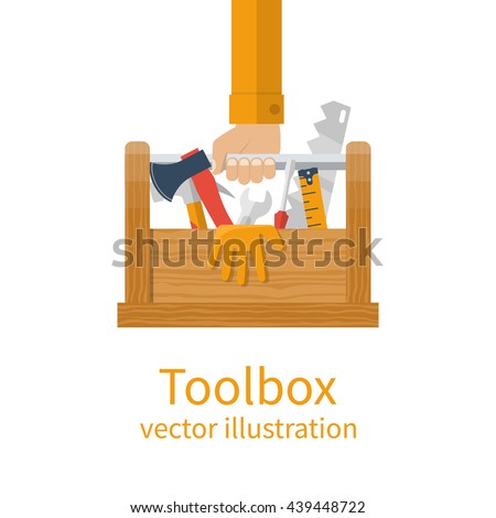 Repairman holding toolbox. Wooden toolbox with equipment. Vector illustration flat design style. Hand with instrument isolated. Handyman concept. Set instrument builder. - stock vector