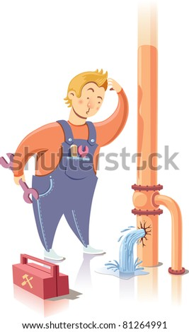 Repairman is embarrassed while looking at the waterpipe. It looks like he is a beginner at the plumbing service. - stock vector