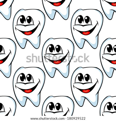 Repeat seamless pattern of happy healthy teeth with huge cheerful smiles in square format suitable for textile or wallpaper - stock vector