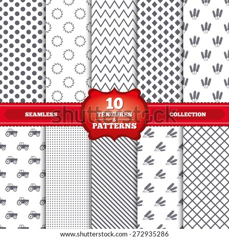 Repeatable patterns and textures. Agricultural icons. Wheat corn or Gluten free signs symbols. Tractor machinery. Gray dots, circles, lines on white background. Vector - stock vector