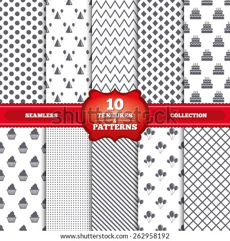 Repeatable patterns and textures. Birthday party icons. Cake, balloon, hat and muffin signs. Celebration symbol. Cupcake sweet food. Gray dots, circles, lines on white background. Vector - stock vector