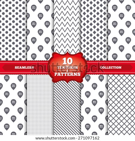 Repeatable patterns and textures. Sale pointer tag icons. Discount special offer symbols. 30%, 50%, 70% and 90% percent sale signs. Gray dots, circles, lines on white background. Vector - stock vector