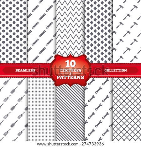 Repeatable patterns and textures. Screwdriver and wrench key tool icons. Bubble level and hammer sign symbols. Gray dots, circles, lines on white background. Vector - stock vector