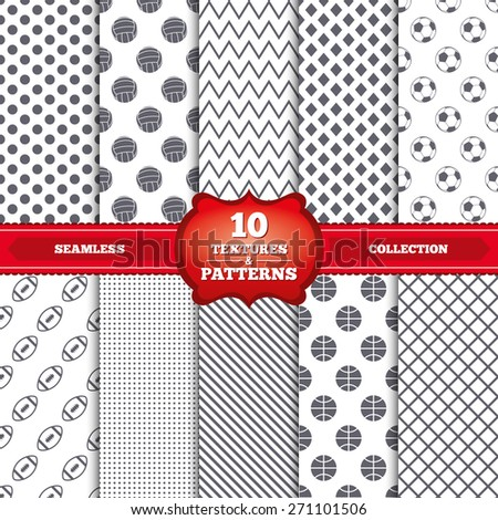 Repeatable patterns and textures. Sport balls icons. Volleyball, Basketball, Soccer and American football signs. Team sport games. Gray dots, circles, lines on white background. Vector - stock vector