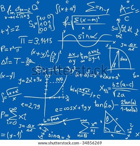 Repeatable seamless math pattern - stock vector