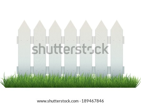 Repeatable white wooden fence on grass, isolated on white. Realistic vector object. EPS10 vector illustration. - stock vector