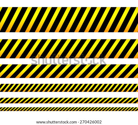 Repeatable yellow tapes, bands, strips. Vector, editable. (Can be repeated horizontally) - stock vector