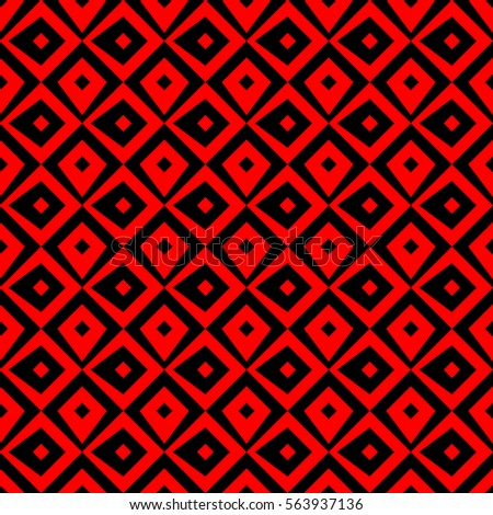 Repeated black figures on bright red background. Ethnic wallpaper. Seamless surface pattern design with rhombuses ornament. Diamonds motif. Digital paper for textile print, web designing. Vector art