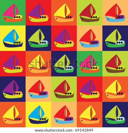 Repeated pattern with cartoon boats - stock vector
