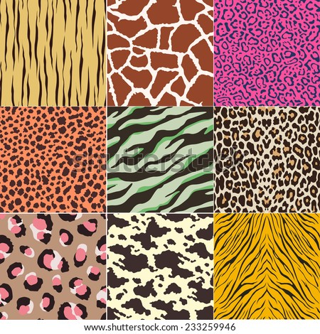 repeated wild animal print pattern  - stock vector