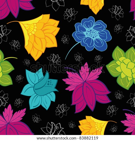 Repeating background with colorful flowers - stock vector