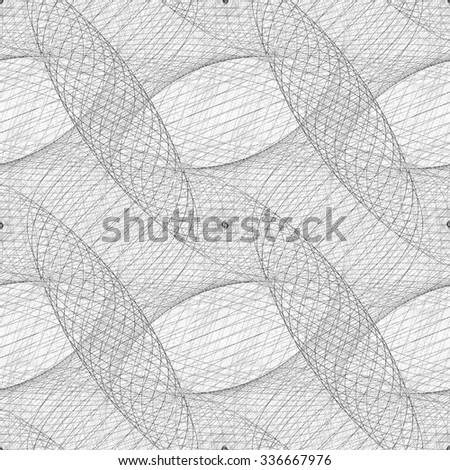 Repeating black and white curved grid fractal pattern - stock vector