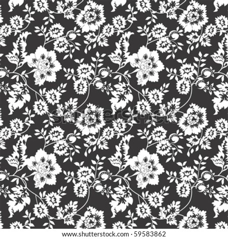 Repeating black and white floral pattern, vector format - stock vector