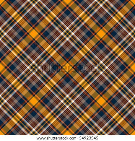 Repeating dark blue-yellow checkered diagonal pattern (vector, EPS 10) - stock vector