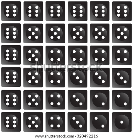 Repeating dice on a wallpaper effect - vector illustration