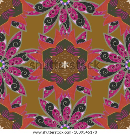 Repeating Floral Backdrop Elegant Brown Neutral And Purple Flowers Wallpaper Flower Pattern Seamless