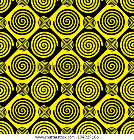 Repeating pattern of spirals of Archimedes in black and yellow colors. - stock vector