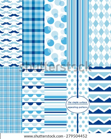 Repeating patterns for digital paper, scrapbooking, cards, invitations and paper backgrounds.  File includes: mustache print, gingham/plaid, stripes, circles, polka dots, argyle, chevron and more. - stock vector