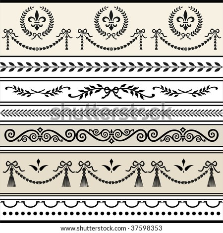 Repeating Scroll Borders - stock vector