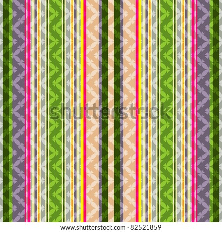 Repeating striped green-grey-pink background with geometric pattern (vector EPS10) - stock vector