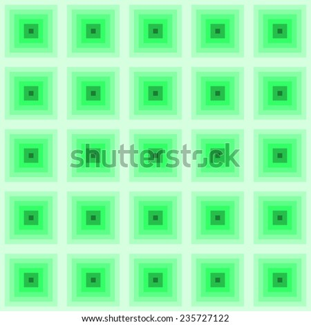 repeating tile effect squares in squares of different shades of green - stock vector