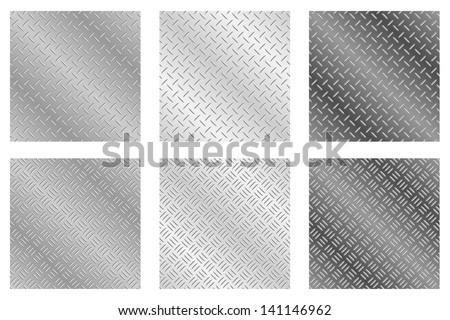 Repeating, tileable checker plate metal background vector illustrations  - stock vector