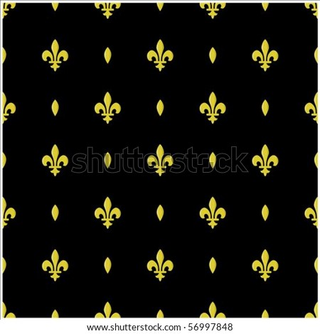 Repeating vector Fleur De Lys pattern. The pattern is included as a seamless swatch. Very easy to edit. - stock vector