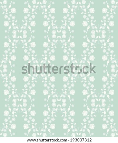 Repeating vintage rose pattern on teal background - stock vector