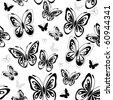 Repeating white-black pattern with silhouettes butterflies (vector) - stock vector