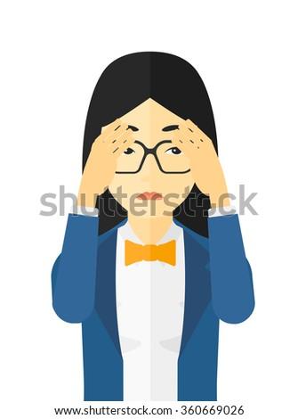 Repentant woman clutching her head. - stock vector