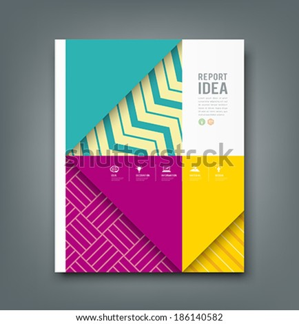 Report design, colorful pattern fabrics triangle and square design background, vector illustration - stock vector