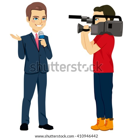 Reporter and cameraman operator characters filming news while reporter speaking with microphone