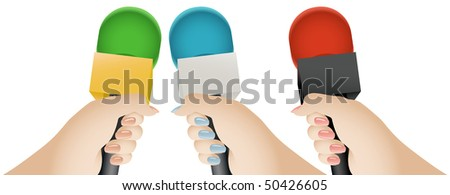 Reporter's Hand Holding a Microphone With a Blank Mic Flag (vector) - stock vector