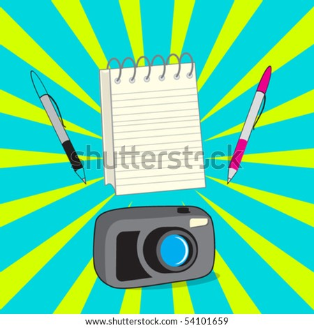 reporters cartoon set - stock vector