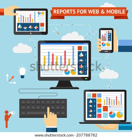 Reports for web and mobile vector set with colorful displays of graphs  charts and statistics displayed on the screens of a desktop  laptop  mobile phone and tablet computer synced through the cloud - stock vector