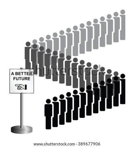Representation of economic migrants and refugee migration with people queuing for a better future isolated on white background