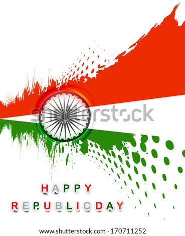Republic day grunge stylish tricolor wave indian flag vector - stock vector