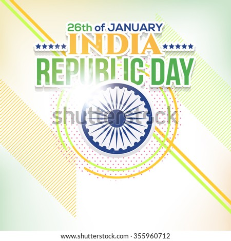 Republic Day of India Greeting Card, Geometric Lines Blurred Background Design - stock vector