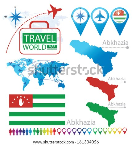 Republic of Abkhazia. flag. World Map. Travel vector Illustration. - stock vector