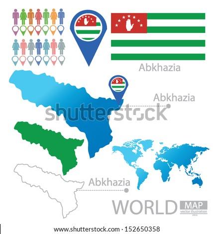 Republic Abkhazia Flag World Map Vector Stock Vector HD Royalty