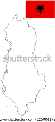 Republic of Albania vector map contour, isolated on white background, and vector flag. High detailed illustration.  - stock vector