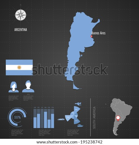 Republic of ARGENTINA. flag. World Map. Travel vector Illustration.