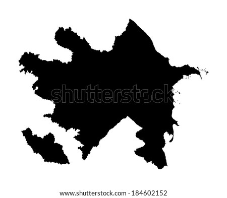 Republic of Azerbaijan - vector map isolated on white background. Hige detailed illustration. - stock vector