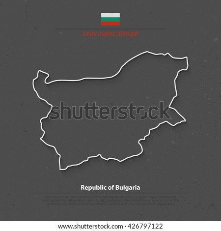 Republic of Bulgaria map and official flag over grunge background. vector Bulgarian political map 3d illustration. European State geographic banner template. travel and business concept map - stock vector