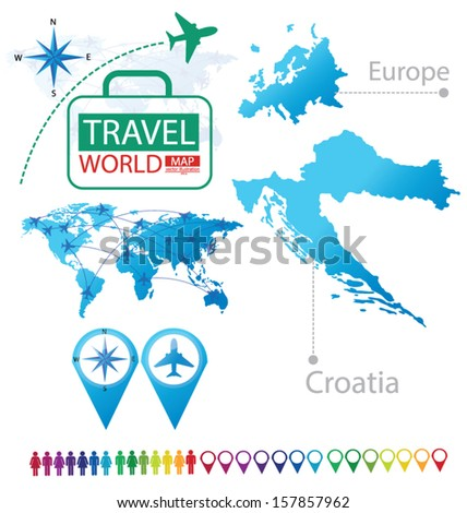 Republic of Croatia. Map. Europe. Modern globe. Travel vector Illustration. - stock vector