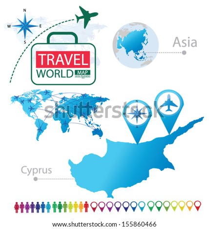 Republic of Cyprus. Asia. World Map. Travel vector Illustration.
