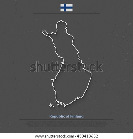 Republic of Finland isolated map and official flag icons. vector Finnish political map outline. Suomi geographic banner template. travel and business concept map. vector Finland maps background - stock vector