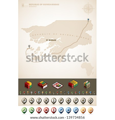Republic of Guinea-Bissau and Africa maps, plus extra set of isometric icons & cartography symbols set