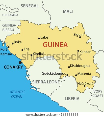 Republic of Guinea - vector map - stock vector