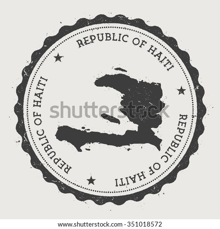 Republic of Haiti. Hipster round rubber stamp with Haiti map. Vintage passport stamp with circular text and stars, vector illustration - stock vector